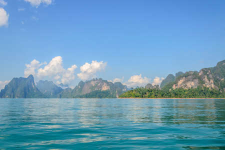 sok: Beautiful mountains with sky and river natural attractions in Ratchaprapha Dam at Khao Sok National Park, Surat Thani Province, Thailand