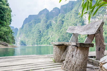 sok: wooden chair in Ratchaprapha Dam at Khao Sok National Park, Surat Thani Province, Thailand