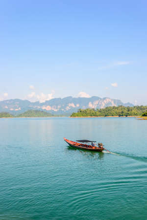 surat: boats, Ratchapapha dam area in Surat Thani province, Thailand.