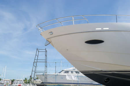 drydock: Luxury yacht waiting for service and repair