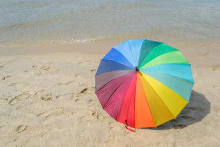 beach umbrella: colorful umbrella on the beach Phuket in Thailand