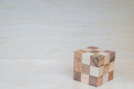 cube puzzle: Cube puzzle in the form of wooden blocks Stock Photo