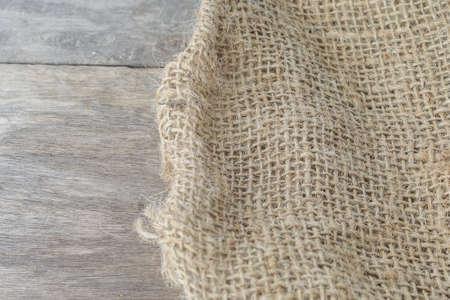 sackcloth: Wood and sackcloth texture Stock Photo