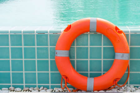buoy: Ring buoy swimming pool. Stock Photo