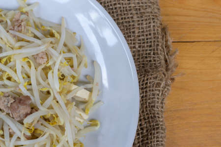 fried bean sprouts on wood table
