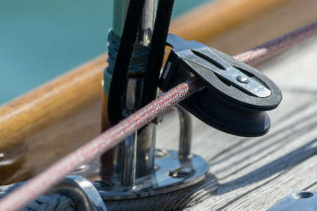 snatch block and ropes on deck Sailing yacht. 版權商用圖片