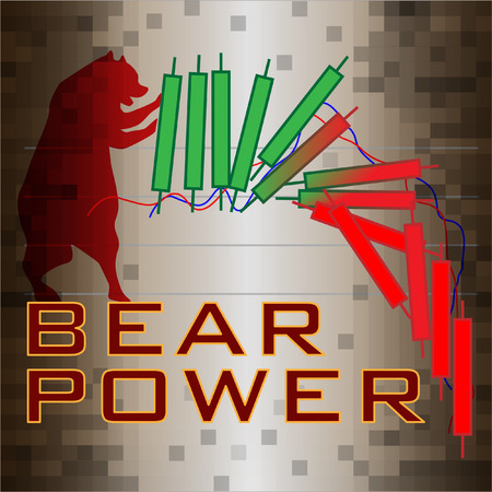 red bear pulling candlesticks collapse from green to red drop falling downtrend on brown digital style background