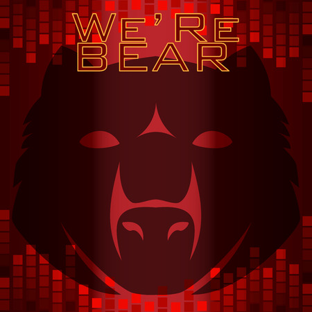red bear head papercut style on red tone background with dark and lighting red digital bar style