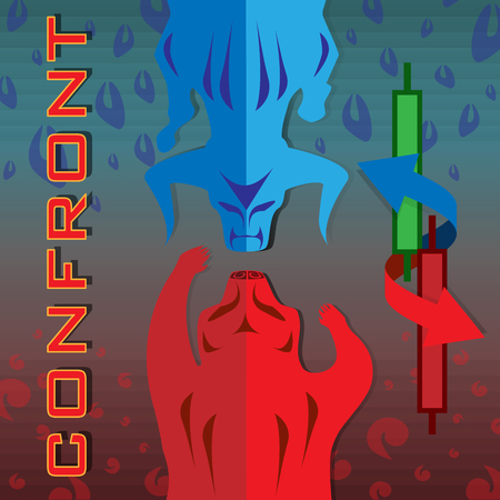 red bear confront with blue bull and candlesticks symbols of green and red candlesticks on shading red and blue tone background