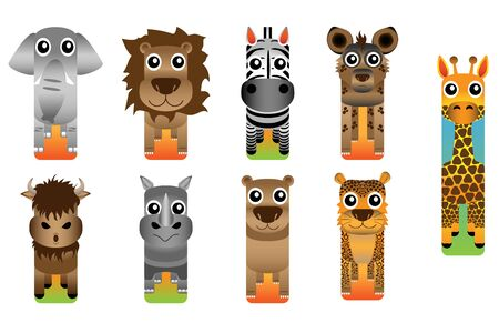Safari Animal Bookmark Style on white background