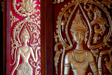 minuteness: The beauty of decorative art of PDR. Laos is supremely valuable local identity Stock Photo