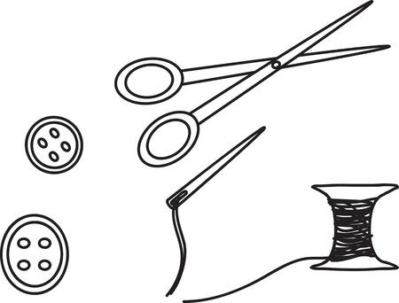enfermera quirurgica: Presilla de la aguja hilo Vectores