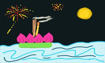 lanna: Loy Krathong Festival Illustration