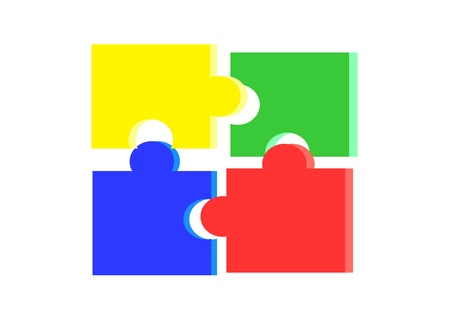 4 brightly colored jigsaw pieces.
