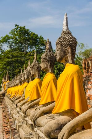 Buddha and the temple in Ayutthaya Thailand photo