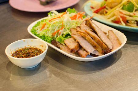 smolder: Sliced roasted pork, made from pork and smolder in fired. Stock Photo