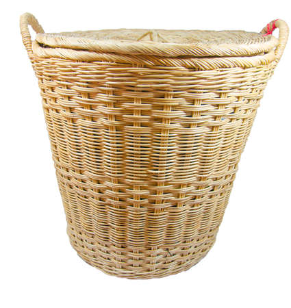 Wicker basket made of green cloth on white background. Stock Photo - 18442806
