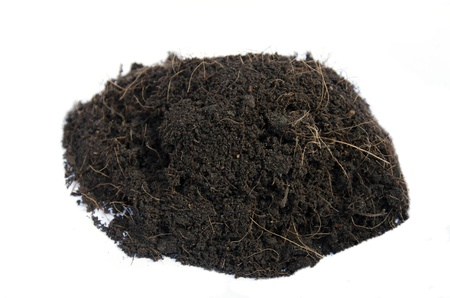 Mound of soil isolated with clipping path