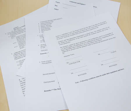 Business documents on the table in the office. photo