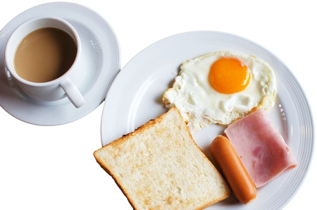 Breakfast on the white background. Stock Photo - 19609497