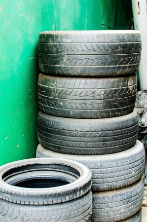 The stack of worn out rubber tire Stock Photo - 21496791