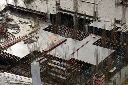 Foundation forms for a new building under construction