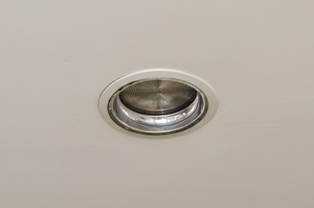 Downlights are mounted on the my the ceiling. Stock Photo
