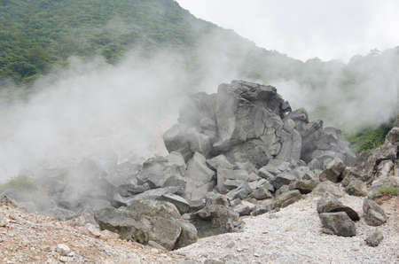 odawara: sulphur pond on the top of a Fuji Hakone park in Japan,