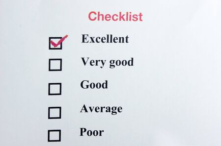 Check list form with check boxes and a red