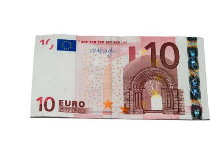 Dez notas de euro com um isolado em um fundo branco Banco de Imagens