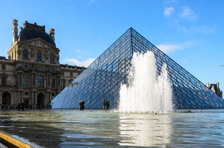 The glass pyramid in Louvre Museum in Paris