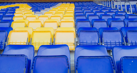 seats chair blue football is made ​​of plastic.