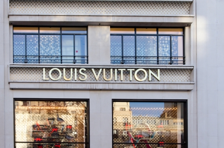 PARIS - DEC 26: Louis Vuitton store on the Champs-Elysees in Paris, France on December 26, 2013