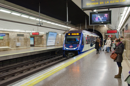 MADRID SPAIN -JAN 4: Subway station for the trip in madrid spain January 4, 2014 Editorial