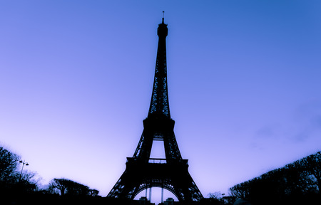 Eiffel Tower at day in Paris, France. Images in silhouette Stock Photo