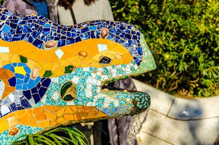 atra��es do parque Guell tur�sticas em Barcelona na Espanha. Banco de Imagens