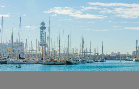 rambla: BARCELONA, SPAIN - DEC 28: Yachts at the dock port vell Barcelona, Spain on December 28, 2013 Editorial