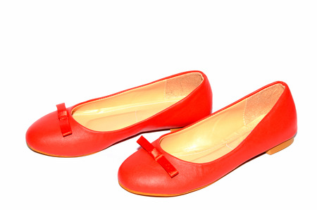 Women leather shoes isotaled on the white background. photo