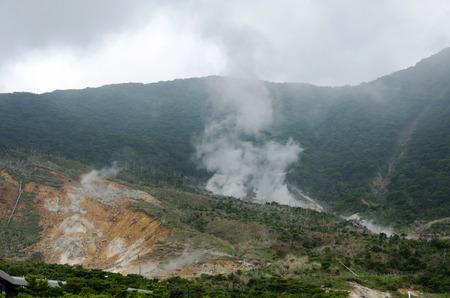 odawara: sulphur pond on the top of a Fuji Hakone park in Japan,