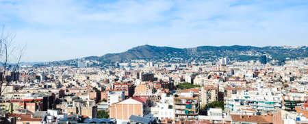 tibidabo: Panorama of Barcelona from Montjuic Stock Photo