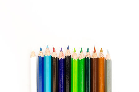 Photograph of colored pencils on a white background photo