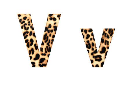 Custom leopard skin alphabet, isolated in white background.  photo