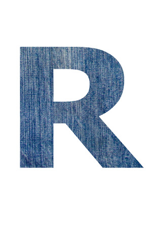 Alphabet from jeans fabric, on white background  photo