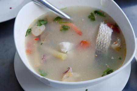 Fish soup, Tom Yum fish, Thailand food photo