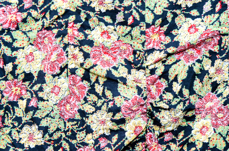 texture, print and wale of fabric in seamless beautiful floral pattern photo