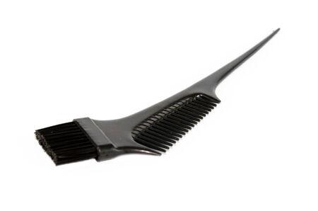 bristle: Black nylon bristle hair dye brush isolated on white