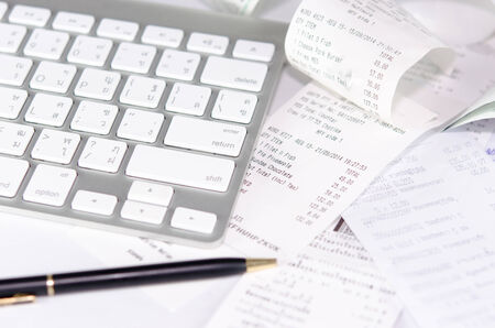 stock image of the receipt paper and Keyboard