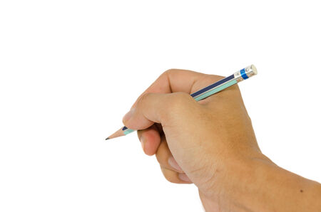 man hand with pencil on a white background photo