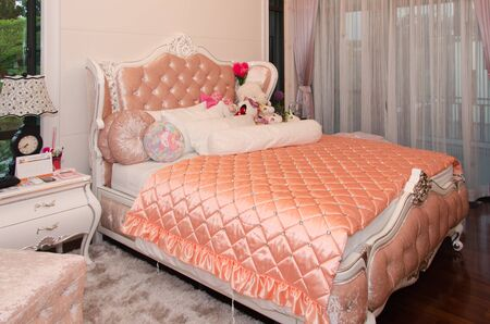 king size bed: Double bed in the modern interior room Stock Photo