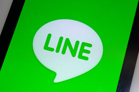 BANGKOK, THAILAND - JUNE 3, 2014: Line is a Japanese application for instant messaging on smartphones and computers. Editorial